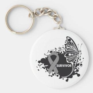 Survivor Abstract Butterfly Brain Cancer Keychains
