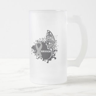 Survivor Abstract Butterfly Brain Cancer Mug