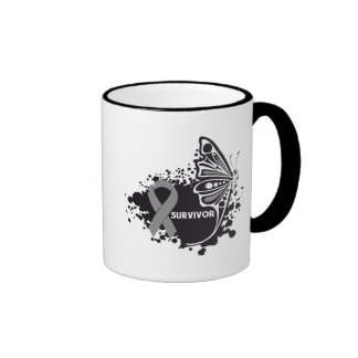 Survivor Abstract Butterfly Brain Cancer Coffee Mugs