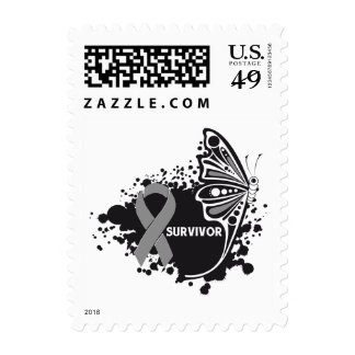Survivor Abstract Butterfly Brain Cancer Postage