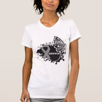 Survivor Abstract Butterfly Brain Cancer Shirts
