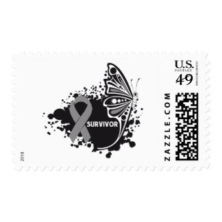 Survivor Abstract Butterfly Brain Cancer Stamps