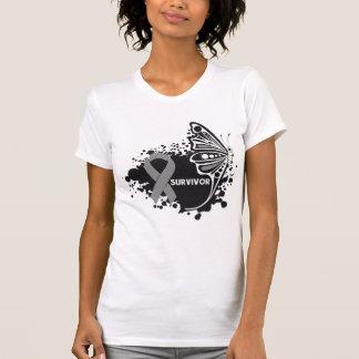 Survivor Abstract Butterfly Brain Cancer T-shirt