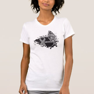 Survivor Abstract Butterfly Brain Cancer T Shirts