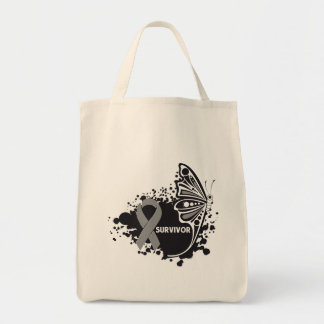 Survivor Abstract Butterfly Brain Cancer Tote Bags