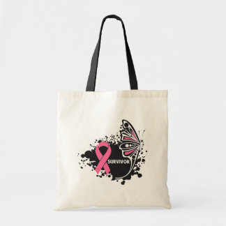 Survivor Abstract Butterfly Breast Cancer Budget Tote Bag
