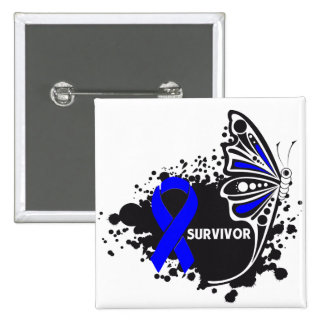 Survivor Abstract Butterfly Colon Cancer Button