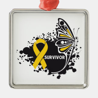 Survivor Abstract Butterfly Neuroblastoma Christmas Ornament