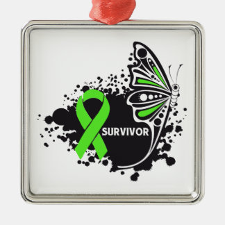 Survivor Abstract Butterfly Non-Hodgkins  Lymphoma Metal Ornament