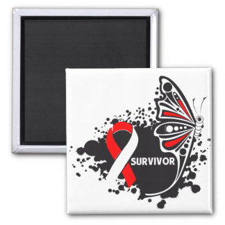 Survivor Abstract Butterfly Oral Cancer 2 Inch Square Magnet