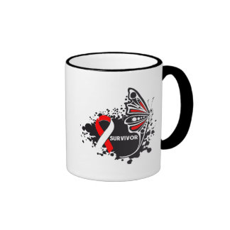 Survivor Abstract Butterfly Oral Cancer Ringer Coffee Mug