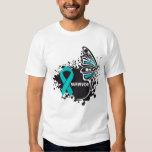 Survivor Abstract Butterfly Ovarian Cancer T Shirt