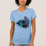 Survivor Abstract Butterfly Ovarian Cancer Tee Shirt