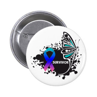 Survivor Abstract Butterfly Thyroid Cancer Pinback Button