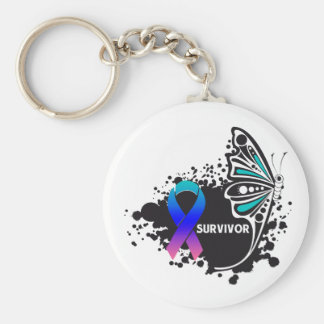 Survivor Abstract Butterfly Thyroid Cancer Keychain
