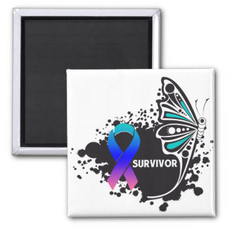 Survivor Abstract Butterfly Thyroid Cancer 2 Inch Square Magnet