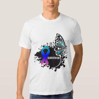 Survivor Abstract Butterfly Thyroid Cancer Tee Shirt
