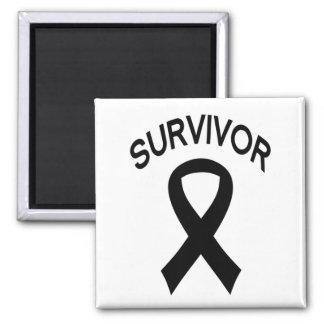 Survivor Black Melanoma Cancer ribbon sq. magnet