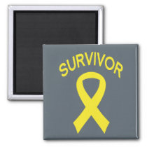 Survivor Bladder Cancer Yello ribbon square magnet