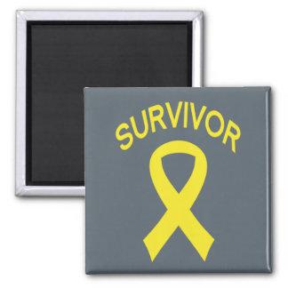 Survivor Bladder Cancer Yello ribbon square magnet
