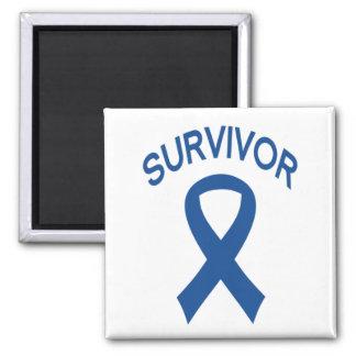 Survivor Blue Colon Cancer ribbon square magnet