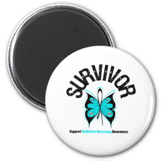 SURVIVOR Butterfly Addiction Recovery 2 Inch Round Magnet