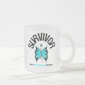 SURVIVOR Butterfly Addiction Recovery 10 Oz Frosted Glass Coffee Mug