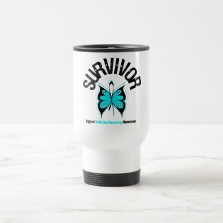 SURVIVOR Butterfly Addiction Recovery 15 Oz Stainless Steel Travel Mug