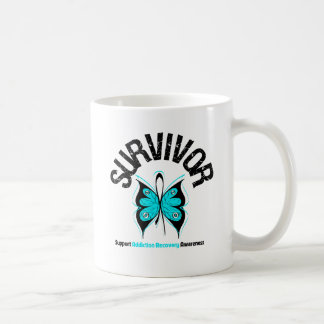 SURVIVOR Butterfly Addiction Recovery Classic White Coffee Mug