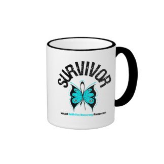 SURVIVOR Butterfly Addiction Recovery Ringer Coffee Mug