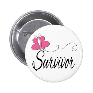 Survivor Butterfly Ribbon Breast Cancer Pins