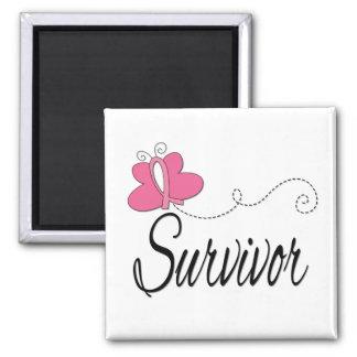 Survivor Butterfly Ribbon Breast Cancer Refrigerator Magnet