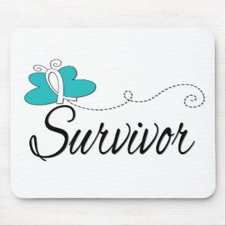 Survivor Butterfly Ribbon Cervical Cancer Mouse Pad