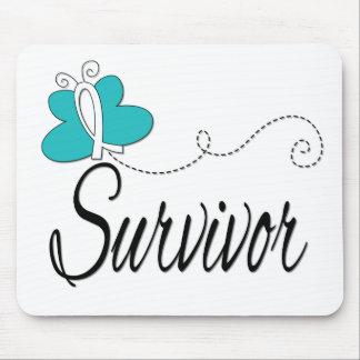 Survivor Butterfly Ribbon Cervical Cancer Mousepads