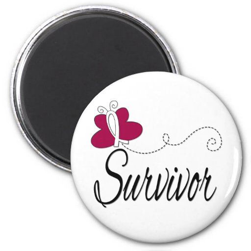 Survivor Butterfly Ribbon Head and Neck Cancer Magnet