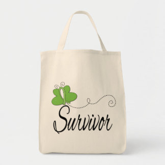 Survivor Butterfly Ribbon Non-Hodgkin's Lymphoma Grocery Tote Bag