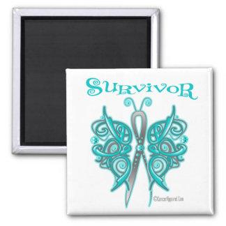 Survivor Celtic Butterfly - Gynecologic Cancer 2 Inch Square Magnet