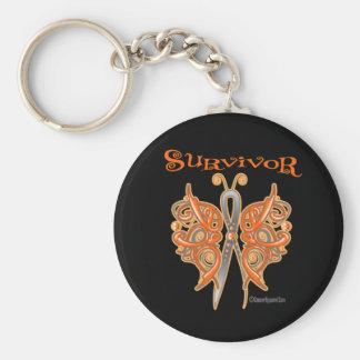 Survivor Celtic Butterfly - Leukemia Basic Round Button Keychain