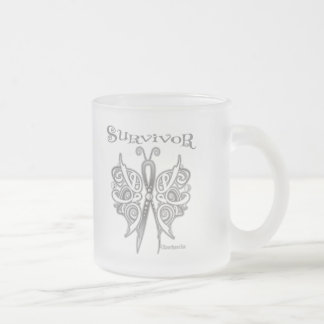 Survivor Celtic Butterfly - Lung Cancer 10 Oz Frosted Glass Coffee Mug