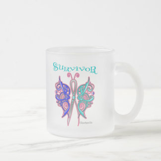 Survivor Celtic Butterfly - Thyroid Cancer 10 Oz Frosted Glass Coffee Mug