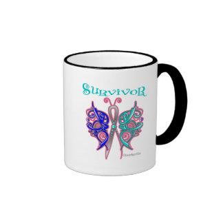 Survivor Celtic Butterfly - Thyroid Cancer Ringer Coffee Mug