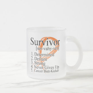 Survivor Definition - Kidney Cancer (Orange) 10 Oz Frosted Glass Coffee Mug
