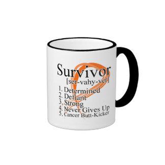 Survivor Definition - Kidney Cancer (Orange) Ringer Coffee Mug