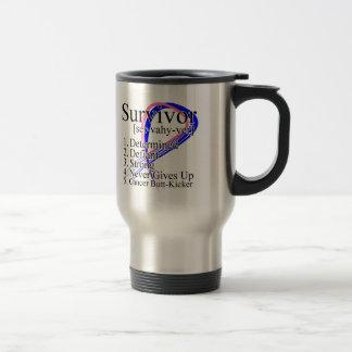 Survivor Definition - Male Breast Cancer 15 Oz Stainless Steel Travel Mug