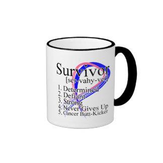 Survivor Definition - Male Breast Cancer Ringer Coffee Mug