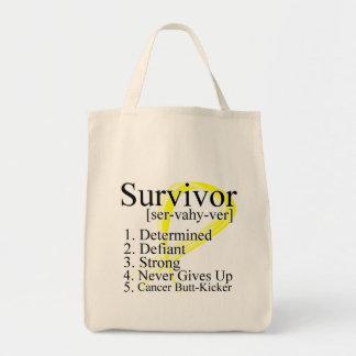 Survivor Definition - Testicular Cancer Canvas Bags