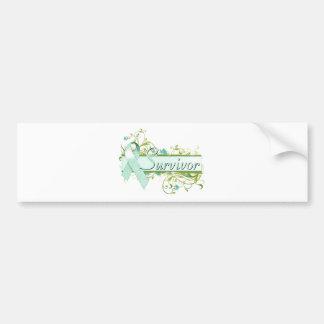 Survivor Floral Teal Bumper Sticker