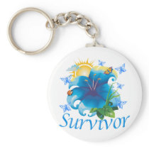 Survivor flower blue keychain