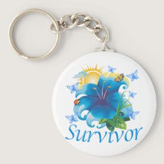 Survivor flower blue keychain