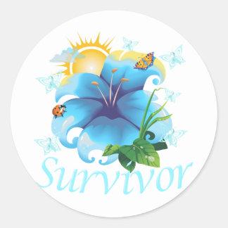 Survivor flower light blue classic round sticker